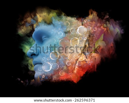 Shards of Dream series. Design composed of human face and colorful graphic elements as a metaphor on the subject of dreams, mind, spirituality, imagination and inner world - stock photo