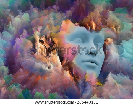 Shards of Dream series. Design made of human face and colorful graphic elements to serve as backdrop for projects related to dreams, mind, spirituality, imagination and inner world - stock photo