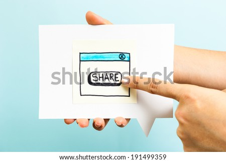 Share button concept on blue background - stock photo
