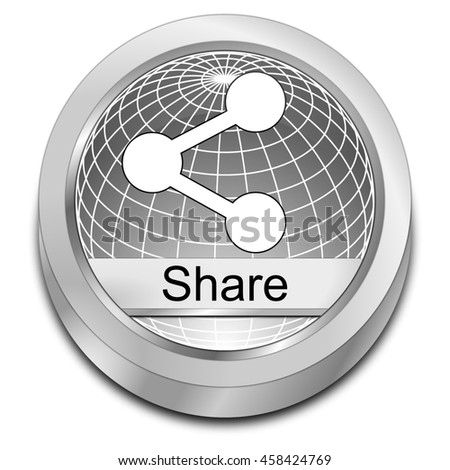Share Button - 3D illustration - stock photo
