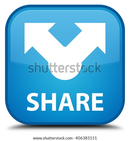 Share cyan blue square button - stock photo