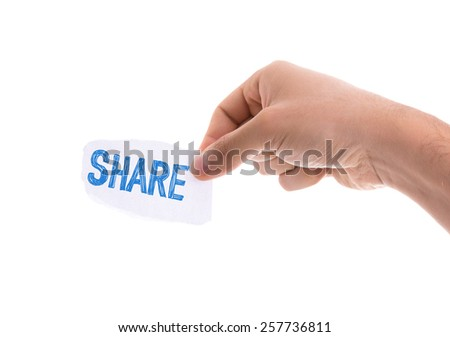 Share piece of paper isolated on white background - stock photo