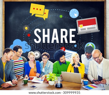 Share Post Media Trending Social Media Concept - stock photo