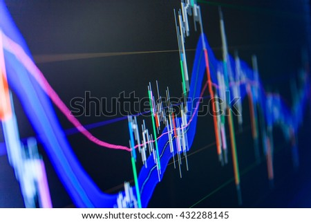 Share price candlestick chart. Market report on blue background. Abstract financial background trade colorful. Share price quotes. Stock market graph and bar chart price display.