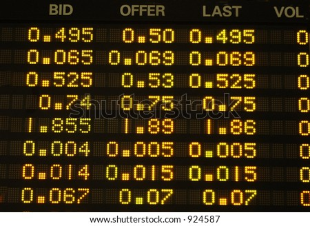 Share prices quoted on an electronic board. - stock photo