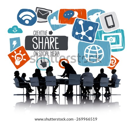 Share Sharing Social Media Networking Online Download Concept - stock photo