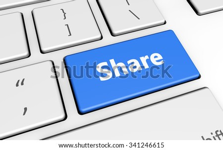 Share sign and letters on a blue computer keyboard for blog and web business concept 3d illustration.