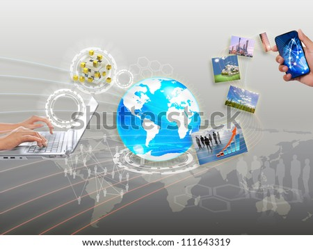 share streaming information, synchronization, cloud networking - stock photo