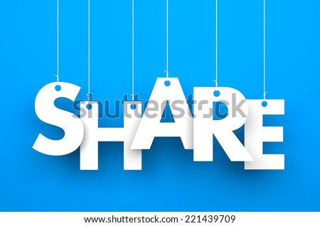 Share. Text on the string - stock photo