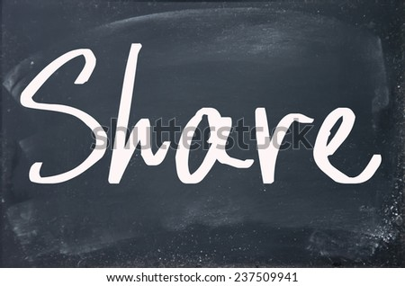 share word write on blackboard - stock photo