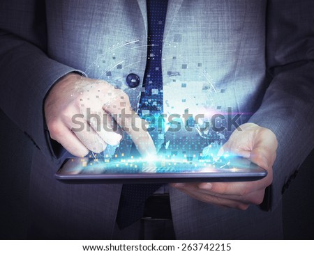 Share work and navigate with the tablet - stock photo