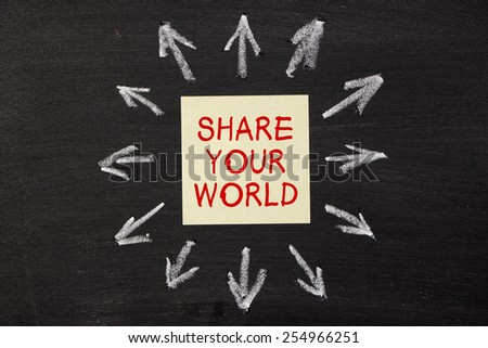 Share Your World - sticky note pasted on a blackboard background with a lot chalk arrows.