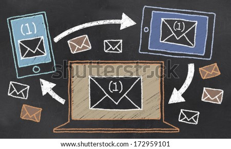 Sharing Communication with Email on Blackboard - stock photo