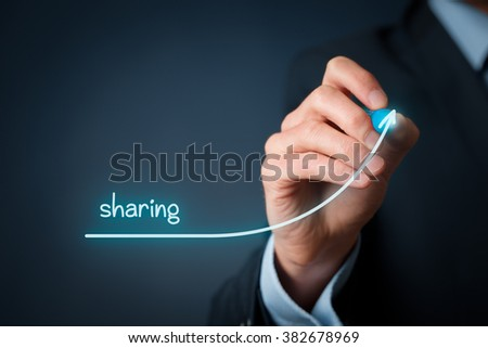 Sharing economy is on the rise. Businessman draw growing graph with sharing.