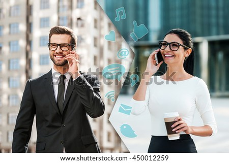 Sharing great business news. Montage of two images of young man and woman in formalwear talking on their smart phones and smiling while standing in different places outdoors - stock photo