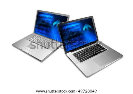 Sharing information through the wireless network. - stock photo