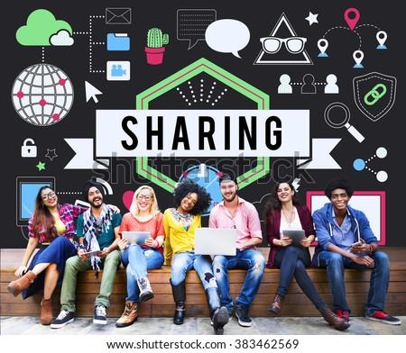 Sharing Social Media Technology Innovation Concept - stock photo