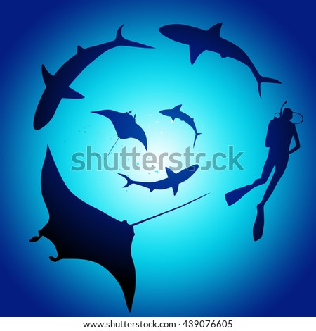 Shark and diver, swimming with sharks - illustration