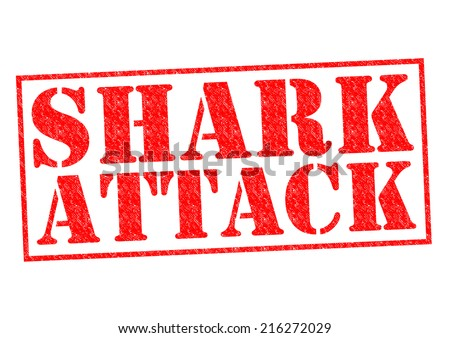 SHARK ATTACK red Rubber Stamp over a white background. - stock photo