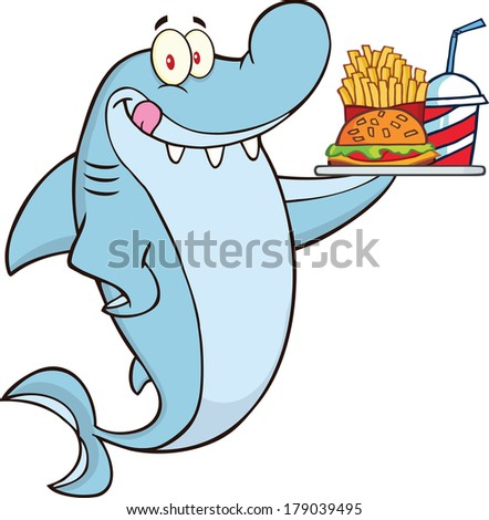 Chef Shark Plate Hamburgerfrench Fries Soda Stock ...