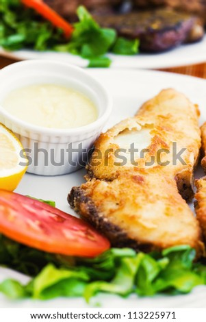 Shark fillet served with side salad and garlic mashed potatoes dip (selective focus) - stock photo