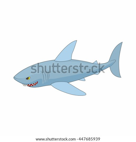 Shark icon in cartoon style on a white background