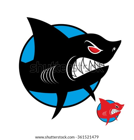 Shark logo. Angry shark in  circle.  logo for sports team or club.
