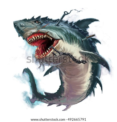 shark mouth monster illustration