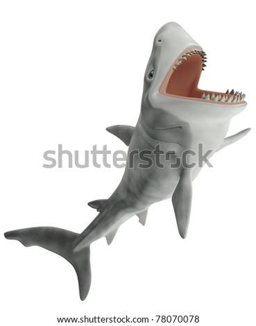 shark side attack - stock photo