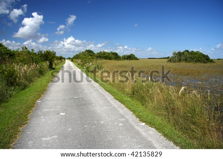 Shark Valley Hiking & Bicycle Trail, Florida Everglades - stock photo