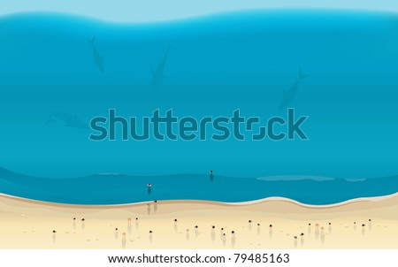Sharks Summer Beach Danger/ Illustration of summer pacific beach seen from plane with shark silhouettes approaching people - stock photo