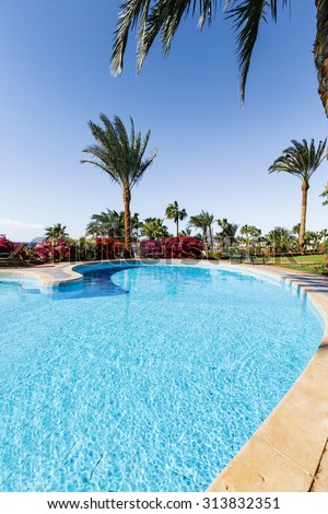 "SHARM - EL - SHEIKH, EGYPT - FEBRUARY 20, 2015: Five-star complex ""Domina Coral Bay"" consists of 9 hotels."