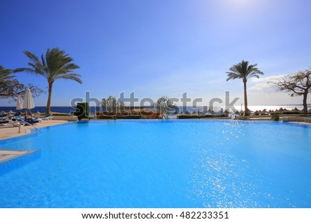 SHARM EL SHEIKH, EGYPT - FEBRUARY 05, 2014: Outdoor swimming pool and resort in Egypt