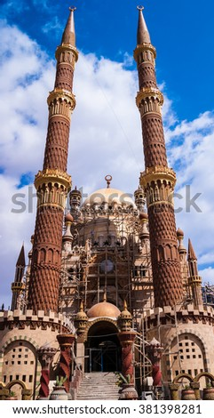 SHARM EL-SHEIKH, EGYPT - FEBRUARY 22: The construction of a new mosque in the Old Market area on February 22, 2016 in Sharm el-Sheikh, Egypt.  - stock photo