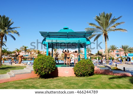 SHARM EL SHEIKH, EGYPT -  NOVEMBER 29: The tourists are on vacation at popular hotel on November 29, 2012 in Sharm el Sheikh, Egypt. Up to 12 million tourists have visited Egypt in year 2012.