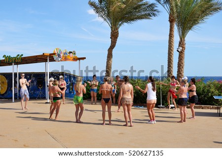 SHARM EL SHEIKH, EGYPT -  NOVEMBER 29: The tourists are on vacation at popular hotel on November 29, 2013 in Sharm el Sheikh, Egypt. Up to 12 million tourists have visited Egypt in year 2013.