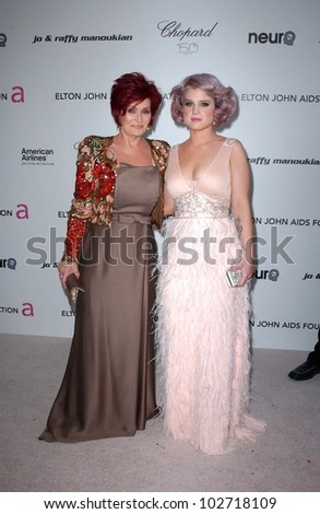 Sharon Osbourne and Kelly Osbourne  at the 18th Annual Elton John AIDS Foundation Oscar Viewing Party, Pacific Design Center, West Hollywood, CA. 03-07-10 - stock photo