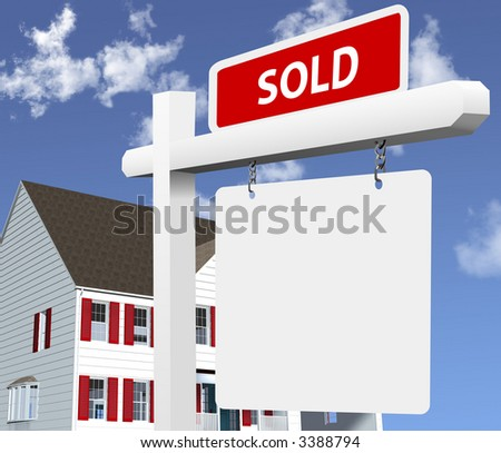 Sharp, bright illustration of a SOLD real estate sign in front of a new home. Clean 3D/vector render.