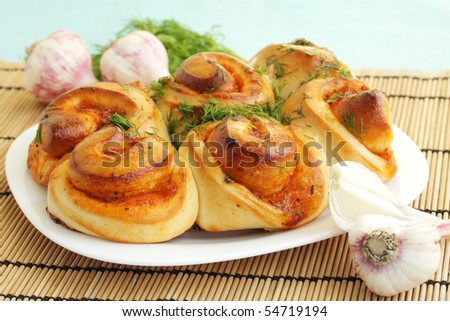 Sharp bun with the garlic and the dill - stock photo