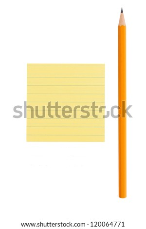 Sharp graphite pencil and yellow lined note on white isolated background - stock photo
