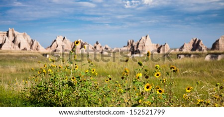 Sharp Mountain Peeks in Bad Lands National Park - stock photo