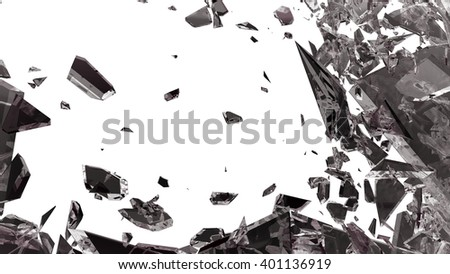 Sharp Pieces of shattered glass isolated on white - stock photo