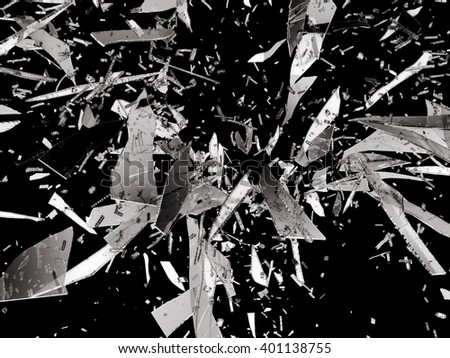 Sharp pieces of smashed glass isolated on black