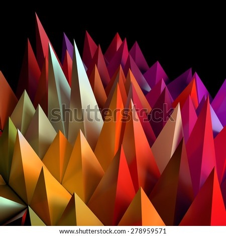 Sharp random pyramids. Abstract futuristic background. - stock photo