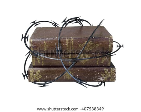 Sharp razor wired used as a barrier around old books