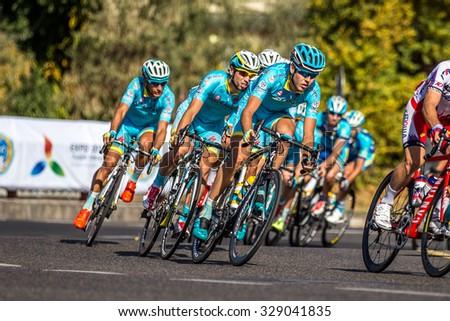 "Sharp turn / Cycle Race ""Tour of Almaty 2015"" / Almaty, Kazakhstan, October 2015 - stock photo"