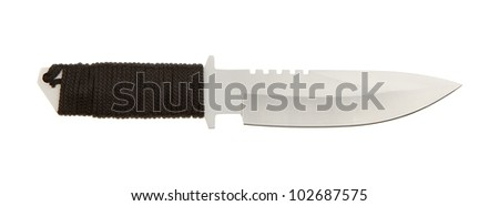 Sharpened metal blade with braided handle on a white background - stock photo