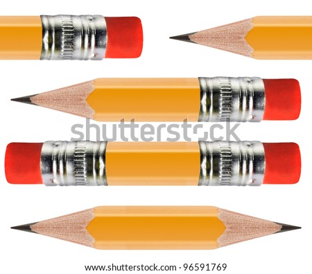 Sharpened Yellow pencil in group of pencils isolated on white background. - stock photo