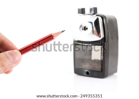 sharpener and colorful pencil isolated on white background - stock photo