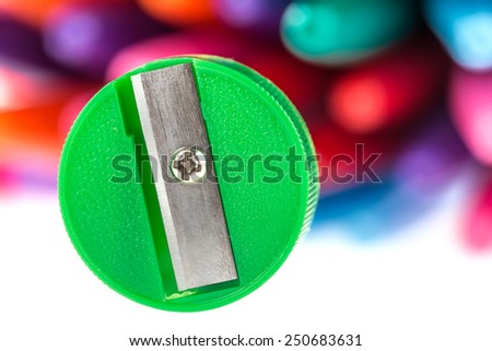 Sharpeners and Colored Pencils - stock photo
